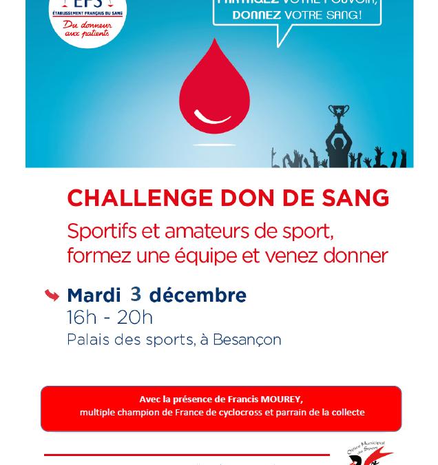 Tous au challenge du don du sang ce mardi 1er décembre au Palais des Sports à Besançon